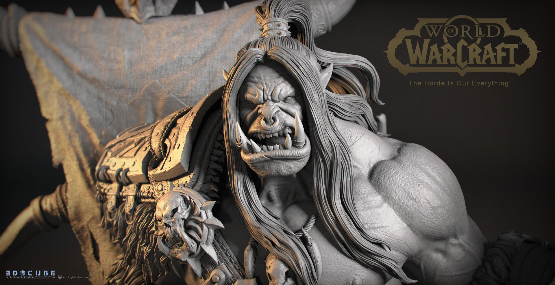 Escultura digital de Grommash Grito Infernal