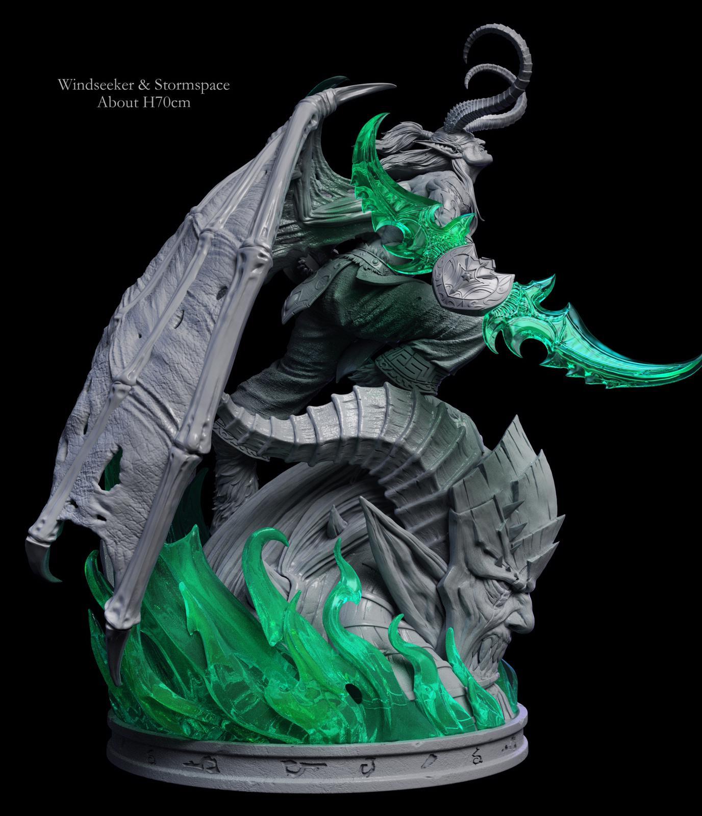Estatuas de Arthas Menethil e Illidan Tempestira por Windseeker Studios de 70 cm en polystone y resina