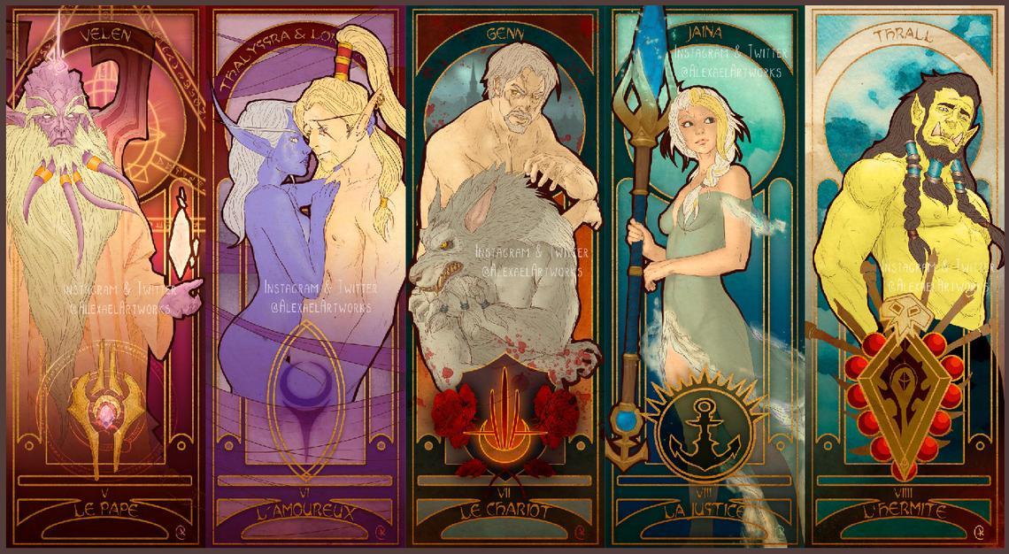 Cartas del tarot con ilustraciones de World of Warcraft